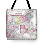 1855 Colton Map Of Massachusetts And Rhode Island Tote Bag