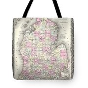 1855 Colton Map Of Michigan Tote Bag