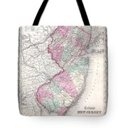 1855 Colton Map Of New Jersey Tote Bag