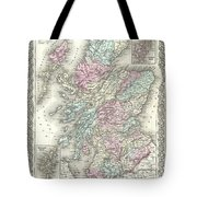 1855 Colton Map Of Scotland Tote Bag