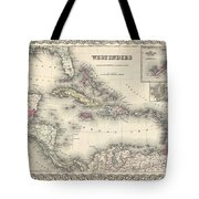 1855 Colton Map Of The West Indies Tote Bag