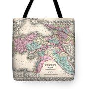 1855 Colton Map Of Turkey Iraq And Syria Tote Bag