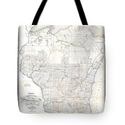 1856 Chapman Pocket Map Of Wisconsin Tote Bag