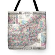 1856 Colton Pocket Map Of New England And New York Tote Bag