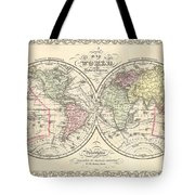 1856 Desilver Map Of The World  Tote Bag