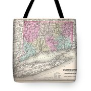 1857 Colton Map Of Connecticut And Long Island Tote Bag