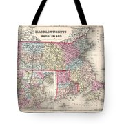 1857 Colton Map Of Massachusetts And Rhode Island Tote Bag
