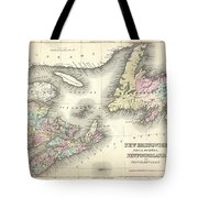 1857 Colton Map Of New Brunswick And Newfoundland Canada Tote Bag