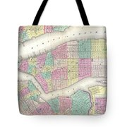 1857 Colton Map Of New York City Tote Bag