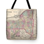 1857 Colton Map Of New York Tote Bag