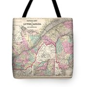 1857 Colton Map Of Quebec And New Brunswick Canada Tote Bag