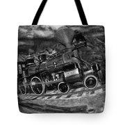 1862 Gov. Stanford First Locomotive Black And White Tote Bag