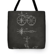 1866 Velocipede Bicycle Patent Artwork - Gray Tote Bag by Nikki Marie Smith