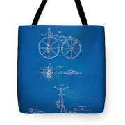 1866 Velocipede Bicycle Patent Blueprint Tote Bag by Nikki Marie Smith