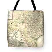 1873 Texas Map By Colton Tote Bag