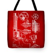 1875 Colt Peacemaker Revolver Patent Red Tote Bag