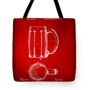 1876 Beer Mug Patent Artwork - Red Tote Bag
