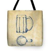 1876 Beer Mug Patent Artwork - Vintage Tote Bag