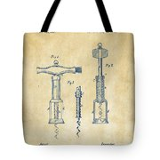 1876 Wine Corkscrews Patent Artwork - Vintage Tote Bag by Nikki Marie Smith