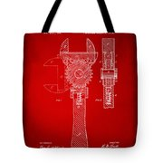1878 Adjustable Wrench Patent Artwork - Red Tote Bag