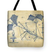 1879 Quinby Aerial Ship Patent Minimal - Vintage Tote Bag