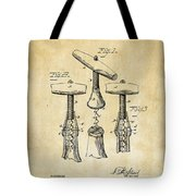 1883 Wine Corckscrew Patent Art - Vintage Black Tote Bag
