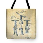 1883 Wine Corckscrew Patent Artwork - Vintage Tote Bag