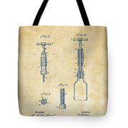 1884 Corkscrew Patent Artwork - Vintage Tote Bag