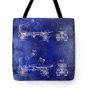 1885 Roller Skate Patent Drawing Blue Tote Bag