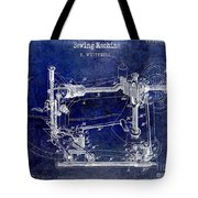 1885 Sewing Machine Patent Drawing Blue Tote Bag