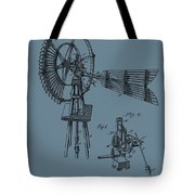 1889 Windmill On Blue Tote Bag