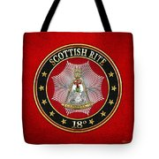 18th Degree - Knight Rose Croix Jewel On Red Leather Tote Bag
