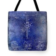 1900 Corkscrew Patent Drawing Blue Tote Bag