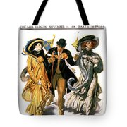 1900s Stylish Man With Two Women Tote Bag