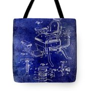 1901 Barber Chair Patent Drawing Blue Tote Bag