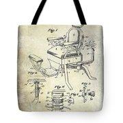 1901 Barber Chair Patent Drawing  Tote Bag