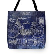 1901 Motorcycle Patent Drawing Blue Tote Bag