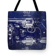 1903 Colt Revolver Patent Drawing Blue Tote Bag