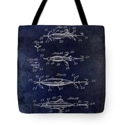 1907 Fishing Lure Patent Blue Tote Bag