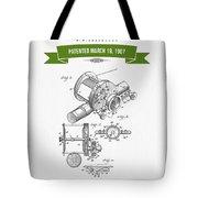 1907 Fishing Reel Patent Drawing - Green Tote Bag