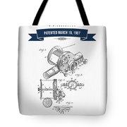 1907 Fishing Reel Patent Drawing - Navy Blue Tote Bag