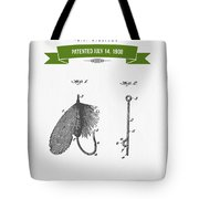 1908 Fish Hook Patent Drawing - Retro Geen Tote Bag