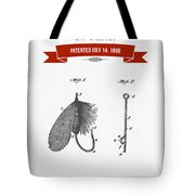 1908 Fish Hook Patent Drawing - Retro Red Tote Bag