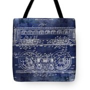 1909 Railway System Patent Drawing Blue Tote Bag