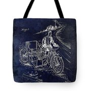 1913 Motorcycle Side Car Patent Blue Tote Bag