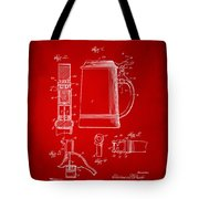 1914 Beer Stein Patent Artwork - Red Tote Bag by Nikki Marie Smith