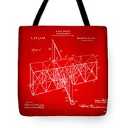 1914 Wright Brothers Flying Machine Patent Red Tote Bag
