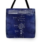1915 Billiard Cue Patent Drawing Blue Tote Bag