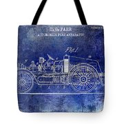 1916 Automobile Fire Apparatus Patent Drawing Lt Blue Tote Bag