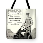 1921 - Moto Mower Lawnmower Advertisement Tote Bag